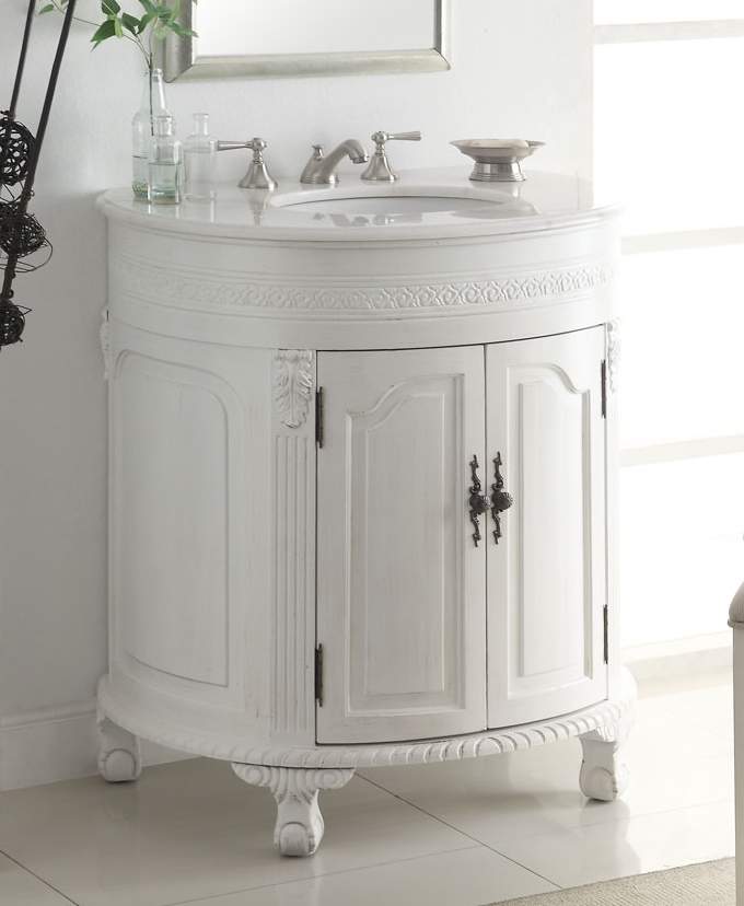 32 inch Adelina Antique White Single Sink Bathroom Vanity - Adelina 32 Inch Antique White Single Sink Bathroom Vanity, Antique