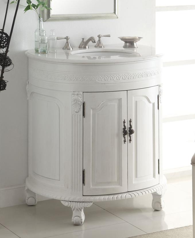 adelina  inch antique white single sink bathroom vanity, antique,