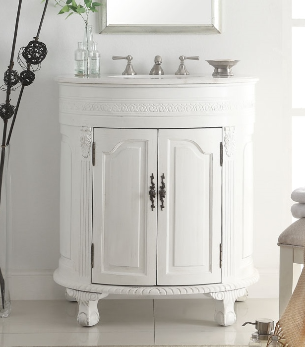 ... Adelina 32 Inch Antique White Single Bathroom Vanity