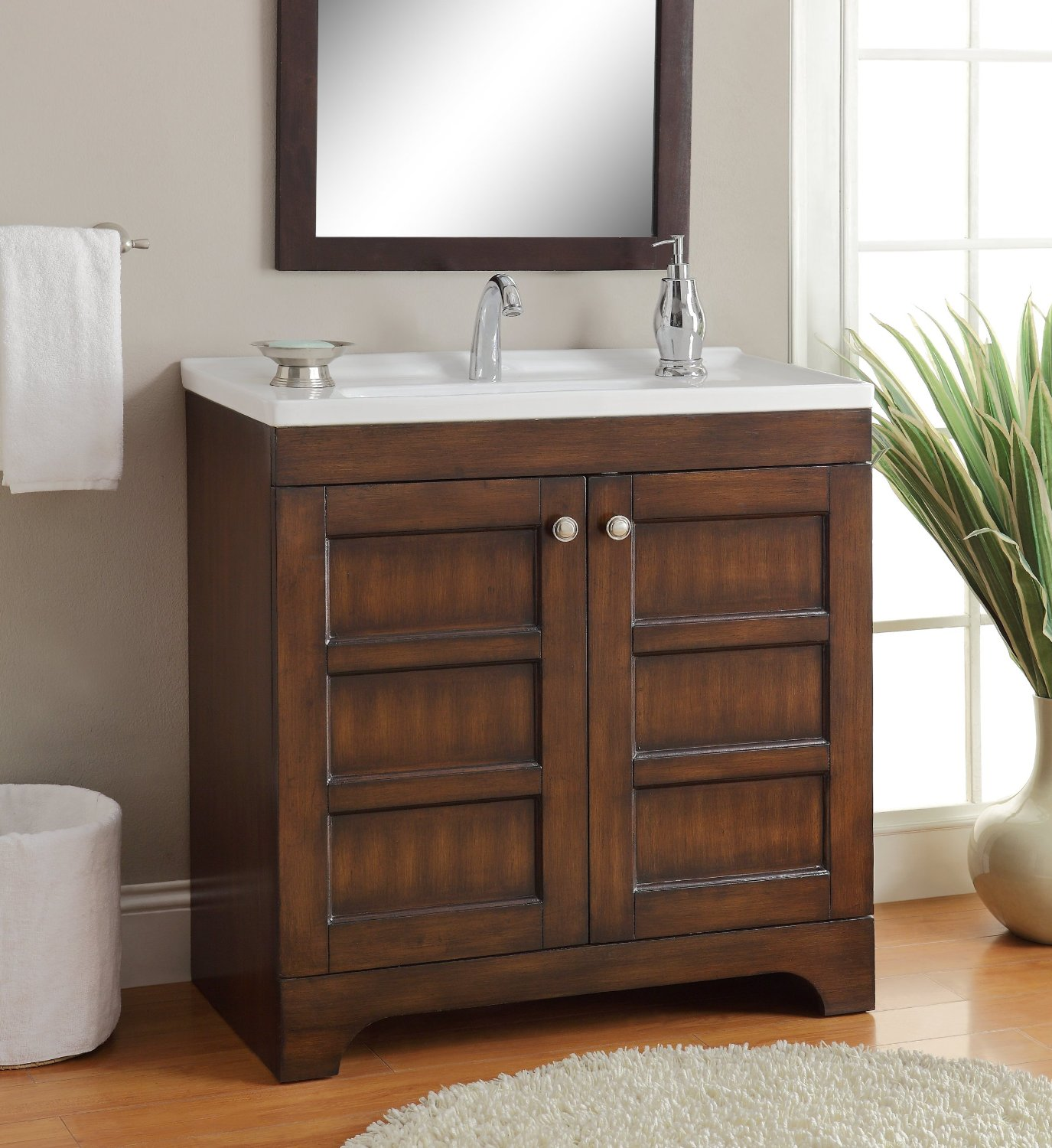 Adelina 32 inch Contemporary Bathroom Vanity, Vitreous china top ...