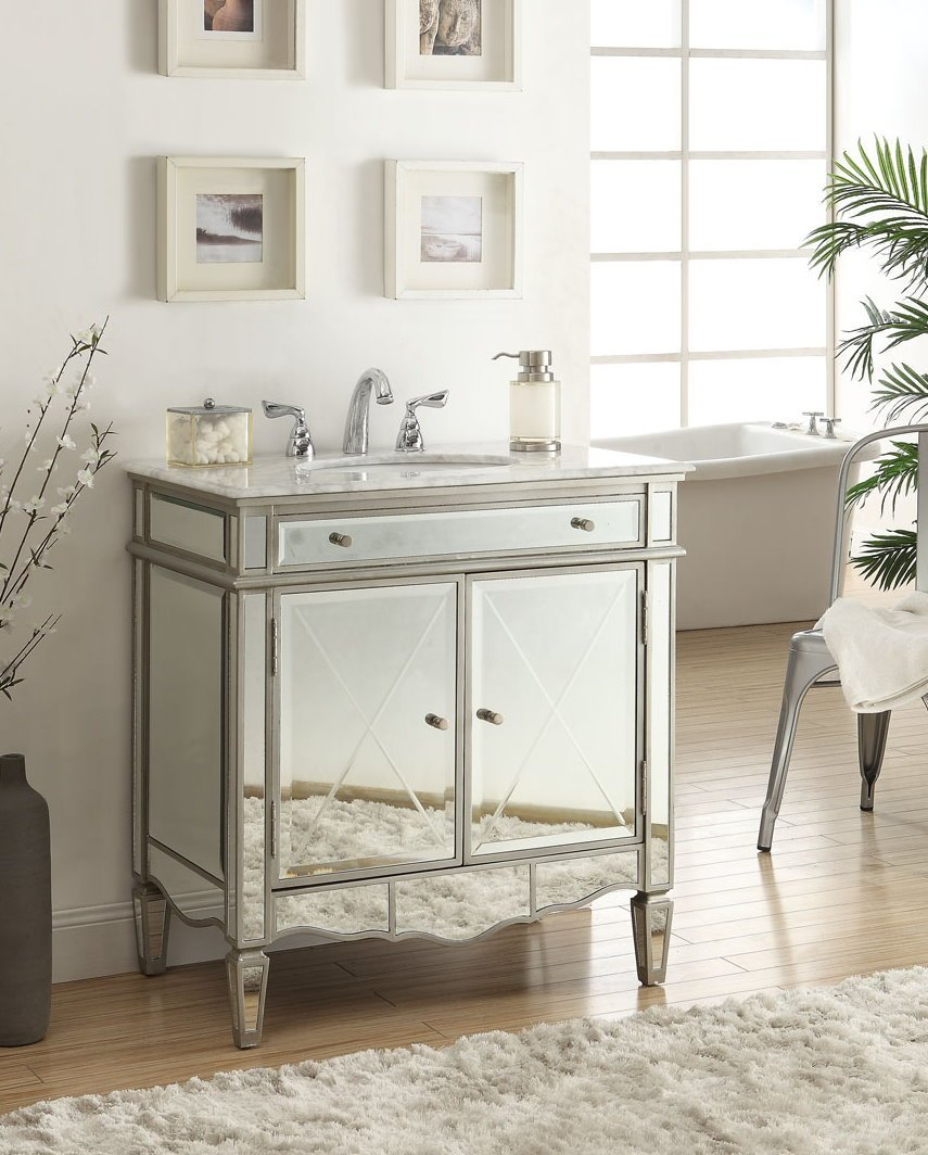 Adelina 32 inch Mirrored Bathroom Vanity, White Carrara marble ...