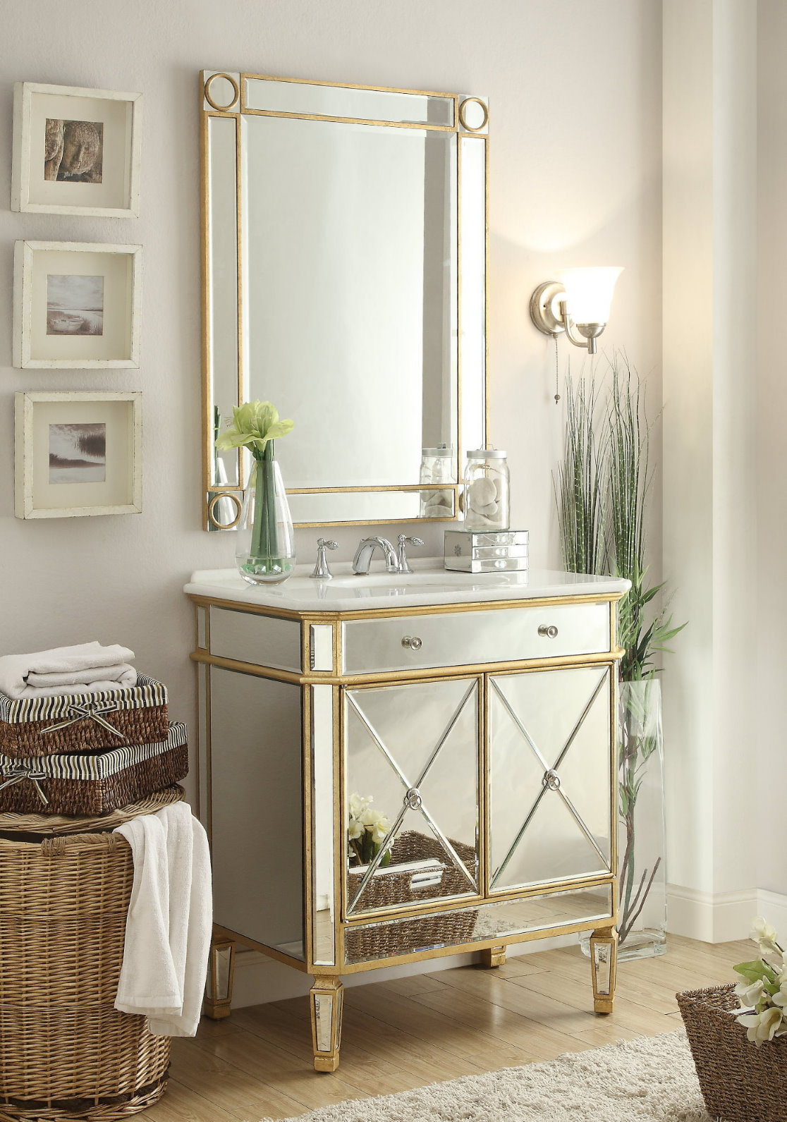 Adelina 32 Inch Mirrored Gold Bathroom Vanity Mirror