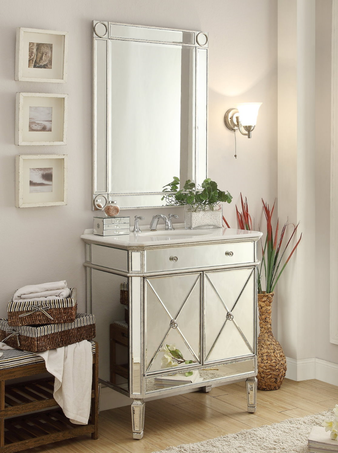 silver bathroom mirrors adelina 32 inch mirrored silver bathroom vanity amp mirror 14406