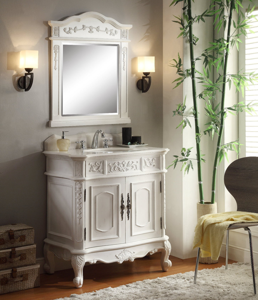 adelina 33 inch antique white single sink bathroom vanity, antique