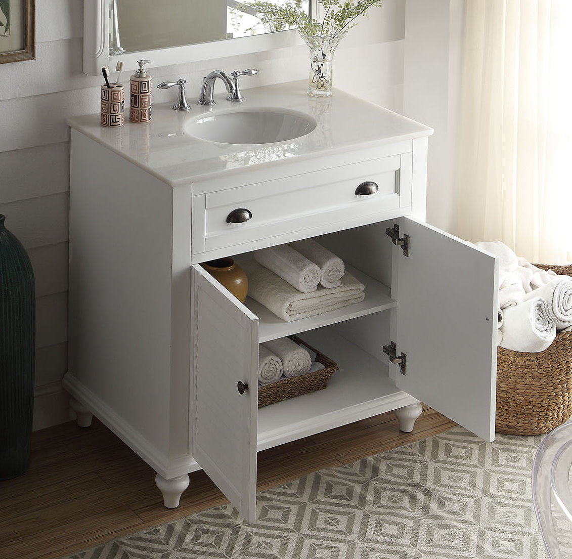 Adelina 34 Inch Cottage Bathroom Vanity White Finish