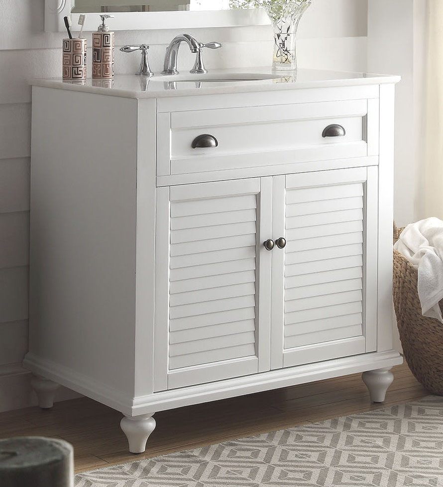 34 inch cottage bathroom vanity white finish