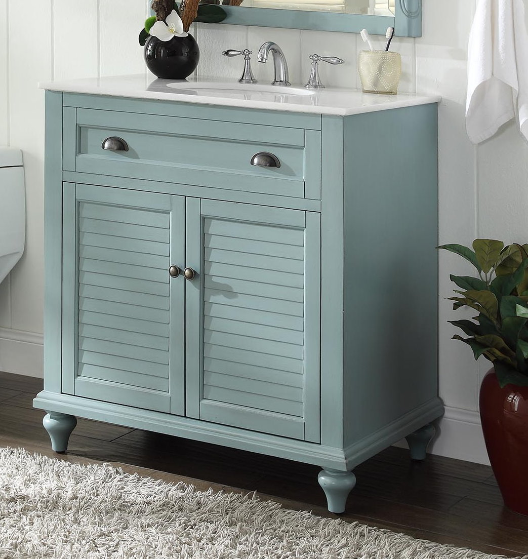 Adelina Inch Cottage Bathroom Vanity White Marble Top - Louvered door bathroom vanity