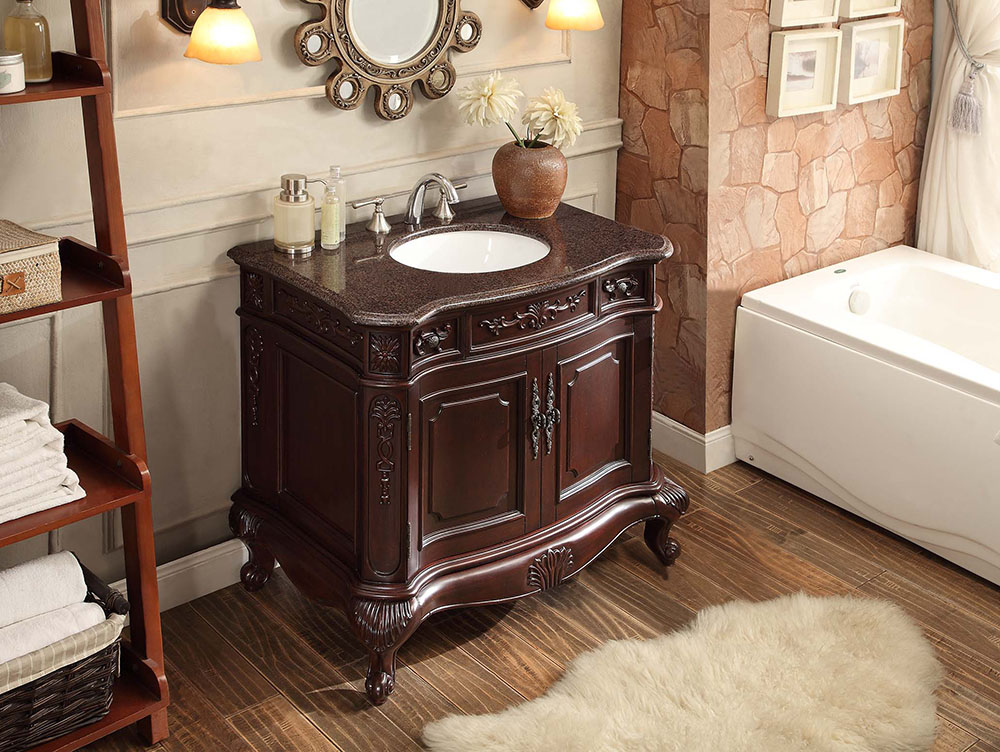 adelina 36 inch antique bathroom vanity dark cherry finish - Antique Bathroom Vanity