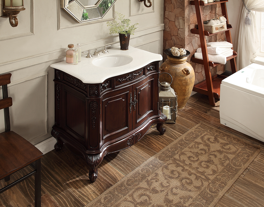 Adelina 36 Inch Antique Bathroom Vanity Dark Cherry Finish Crystal White Marble Top