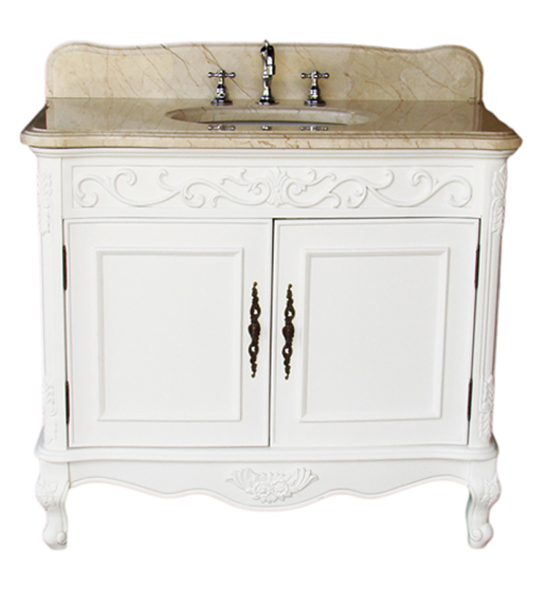 adelina 36 inch antique bathroom vanity white finish, beige marble top