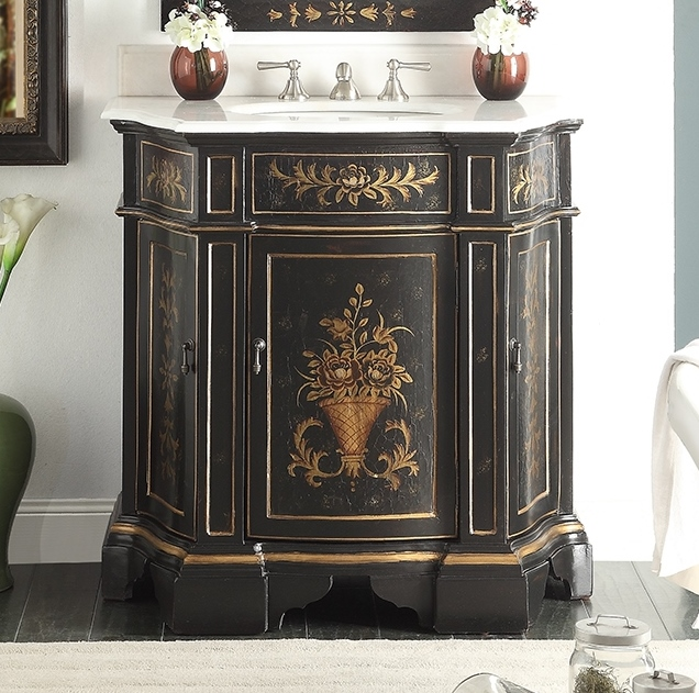30 Vintage Bathroom Vanity adelina 36 inch antique hand painted vintage black finish bathroom