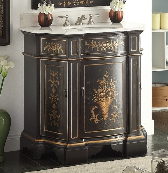 Adelina 36 inch Antique Hand Painted Vintage Black Finish Bathroom Vanity - Adelina 36 Inch Antique Hand Painted Vintage Black Finish Bathroom