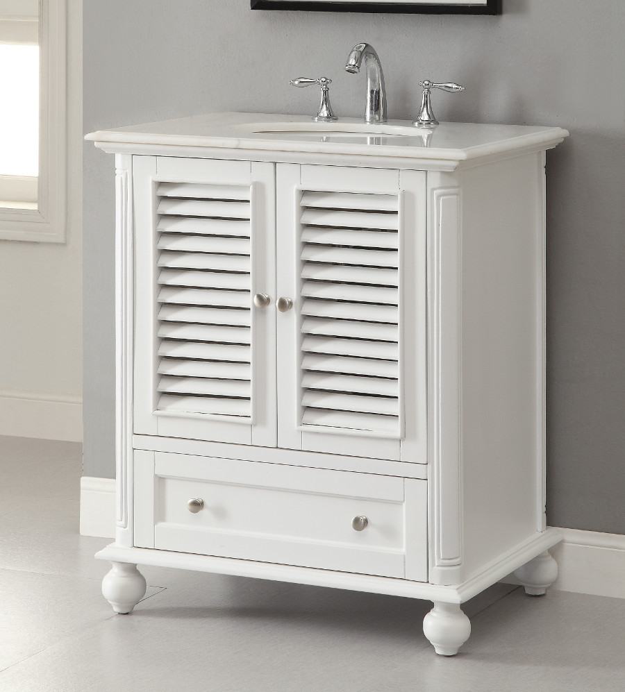 adelina 30 inch cottage white finish bathroom vanity, white marble