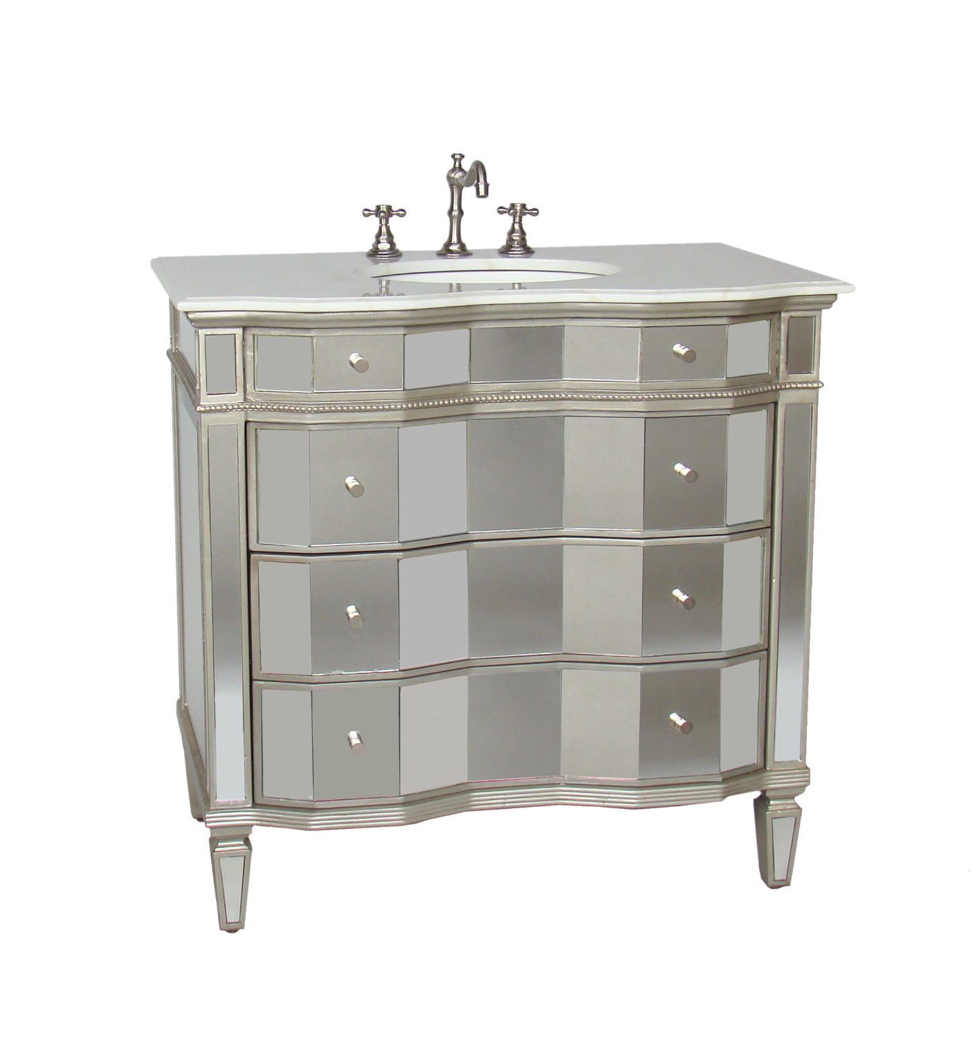 Adelina 36 inch Mirrored Bathroom Vanity White Carrara marble