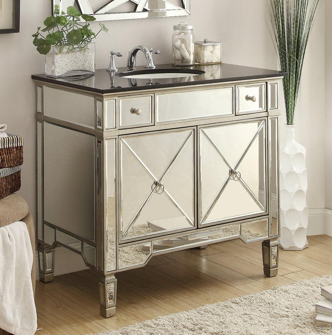 Bathroom Cabinet Mirrored adelina 36 inch mirrored silver bathroom vanity & mirror
