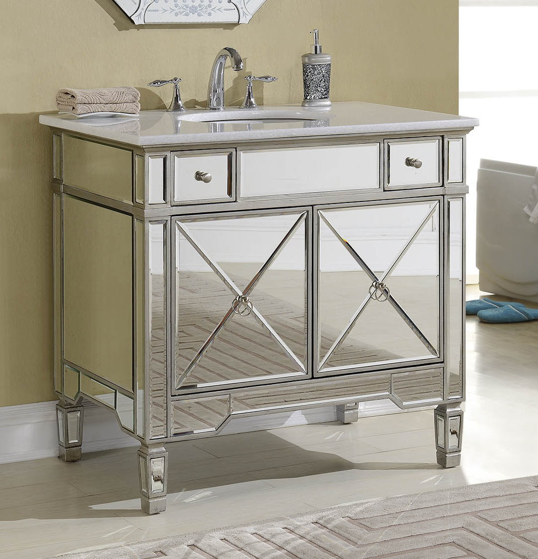 Adelina 36 Inch Mirrored Silver Bathroom Vanity White Marble Top