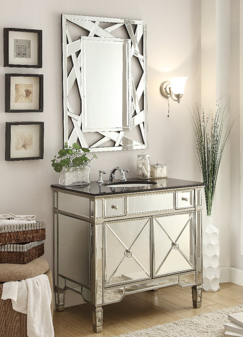 Adelina 36 inch Mirrored Silver Bathroom Vanity & Mirror