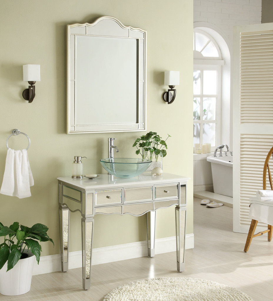 Adelina 36 inch Mirrored Vessel Sink Bathroom Vanity, White marble ...