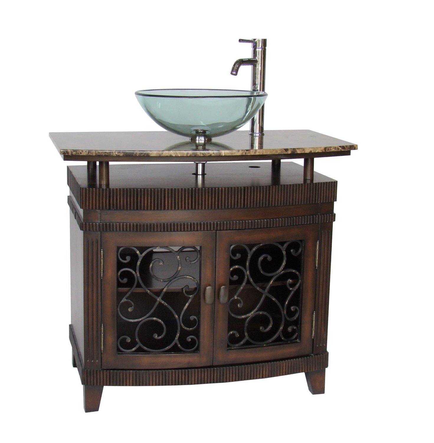 Adelina 36 inch vessel sink bathroom vanity medium brown