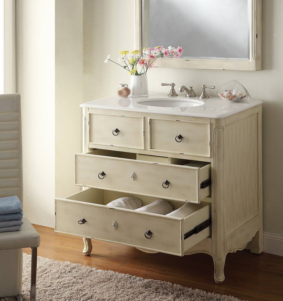 ... Adelina 36 Inch Vintage Bath Vanity Distressed Cream Finish