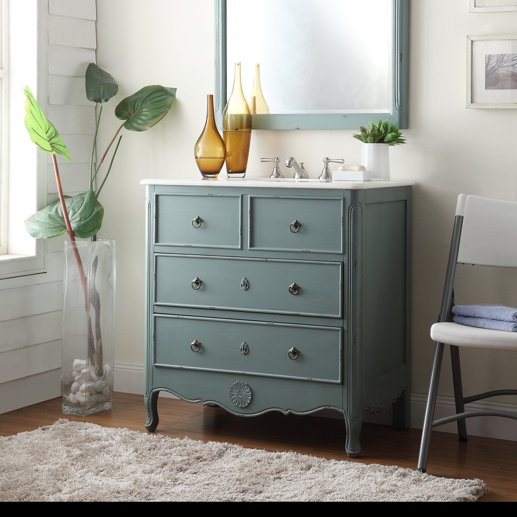Adelina 34 inch vintage bathroom vanity vintage mint blue finish - Commode salle de bains ...
