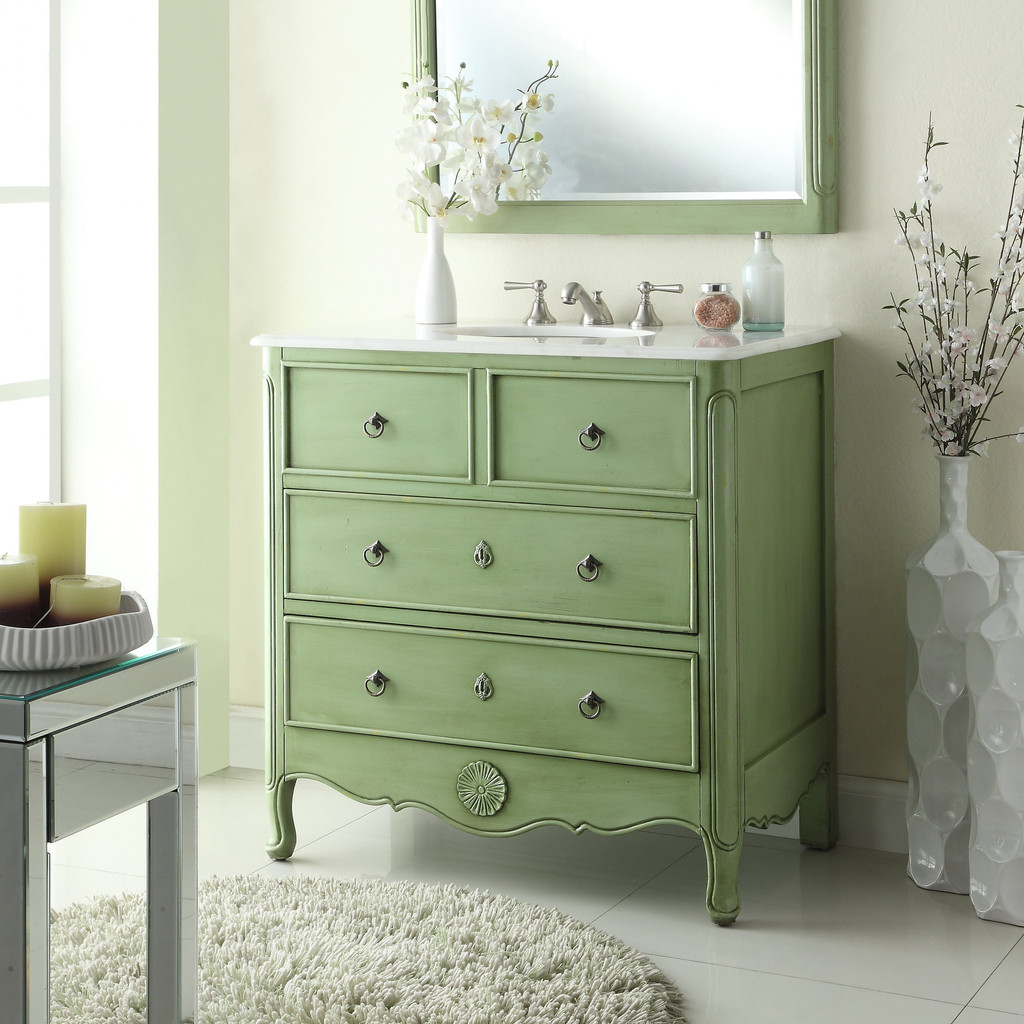 Adelina 34 inch vintage bathroom vanity vintage mint green for Bathroom decor light green