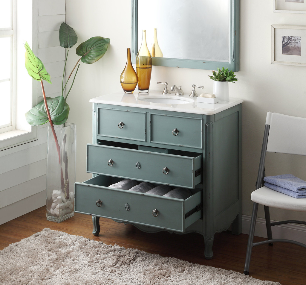 Great ... Adelina 36 Inch Vintage Bathroom Vanity Mint Blue Finish