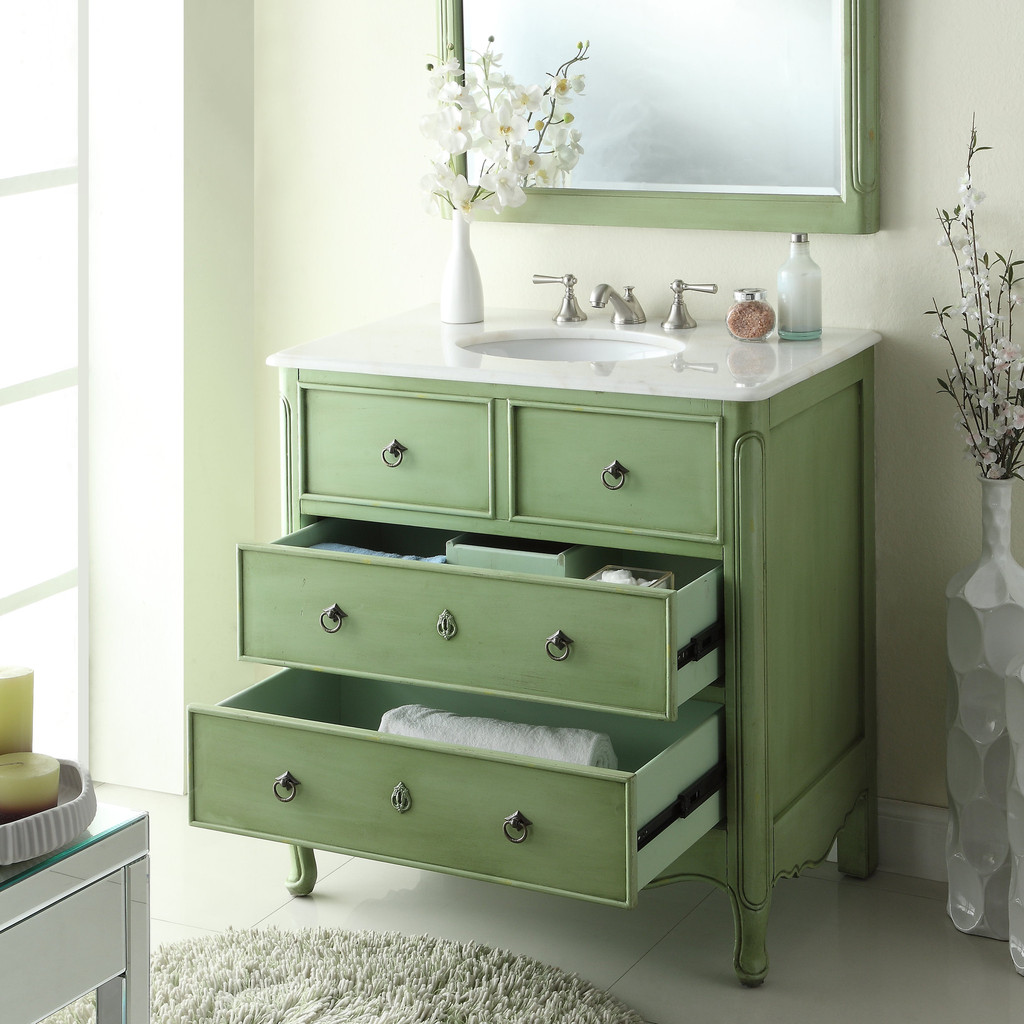 ... Adelina 36 Inch Vintage Bathroom Vanity Vintage Green Finish