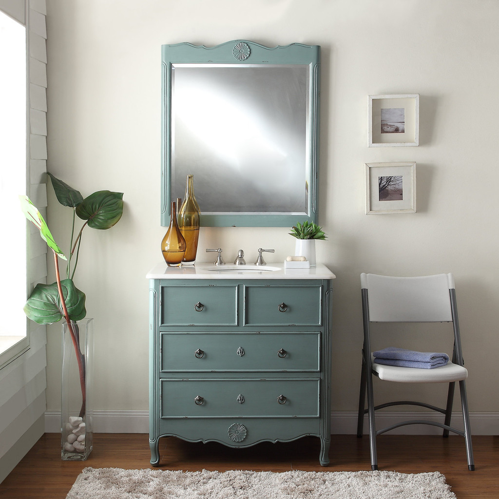 Adelina 36 Inch Vintage Bathroom Vanity Mint Blue Finish