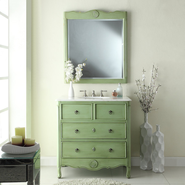 Adelina 34 Inch Vintage Bathroom Vanity Vintage Mint Green Finish