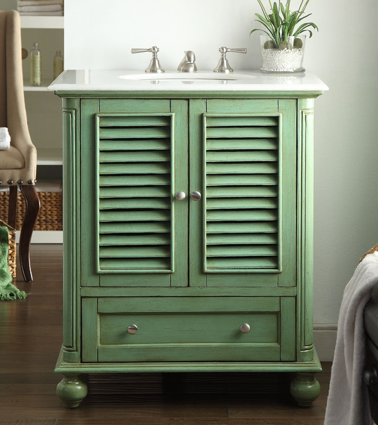 30 Inch Adelina Vintage Green Finish Bathroom Vanity