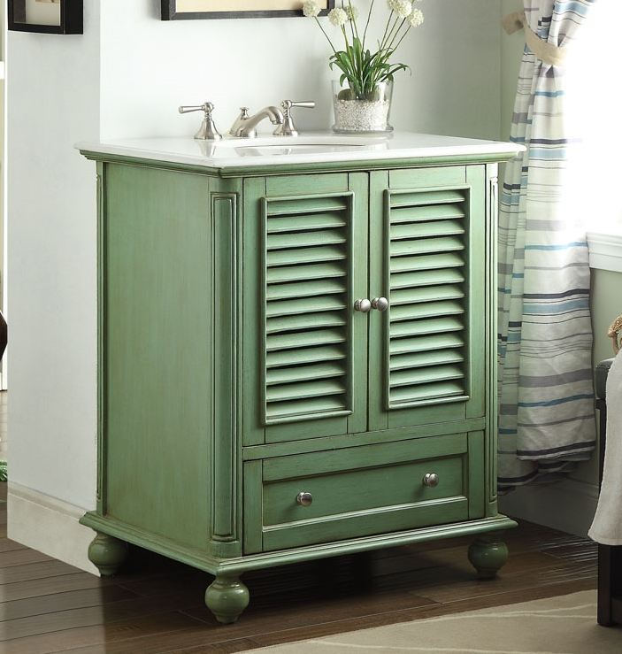 Adelina 36 Inch Vintage Green Finish Bathroom Vanity ...