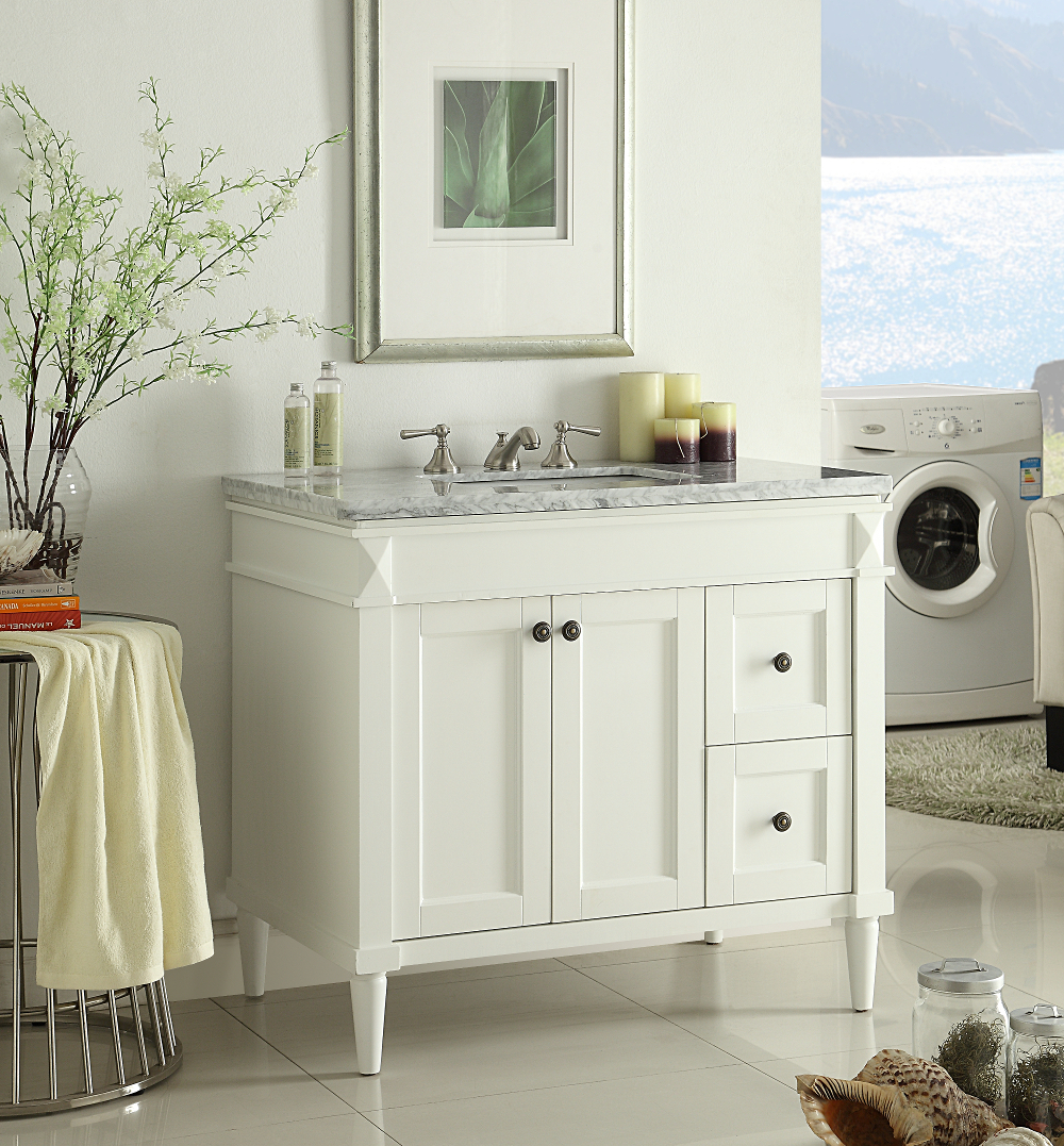 Adelina 36 Inch White Finish Bathroom Vanity Marble