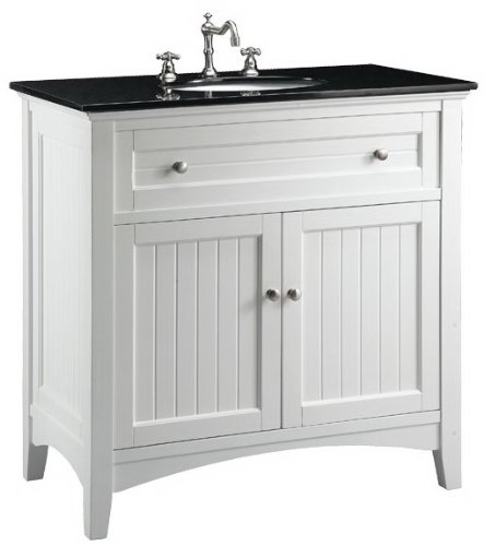 adelina 37 inch antique white sink bathroom vanity, black galaxy