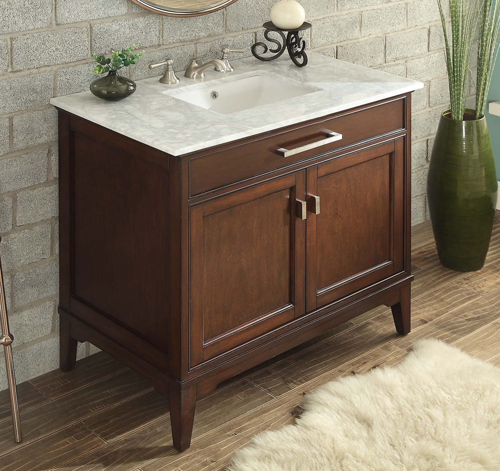 Adelina 37 Inch Contemporary Bathroom Vanity Constructed Of Solid Wood