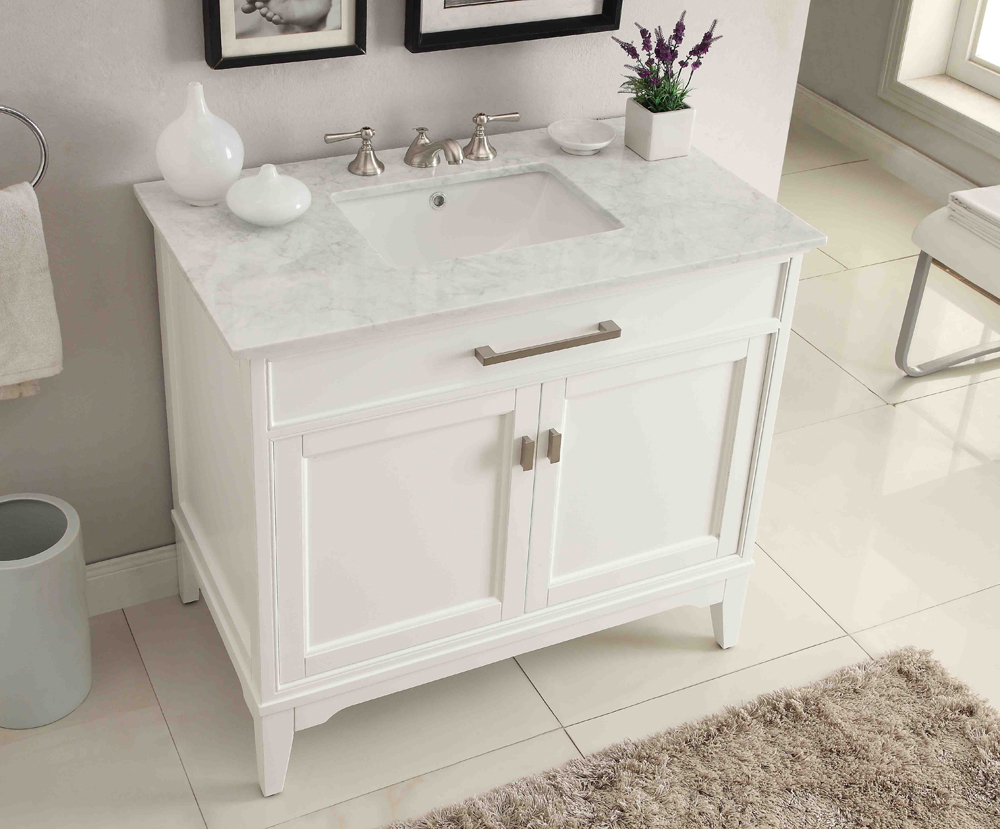 Adelina 37 inch contemporary white finish bathroom vanity for Modern white bathroom vanity