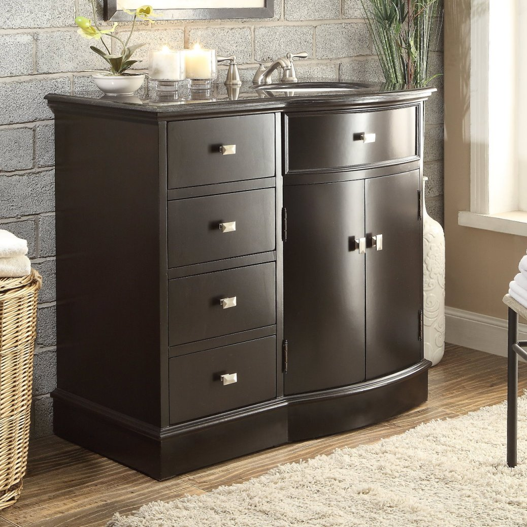 adelina 40 inch espresso finish bathroom vanity, black galaxy