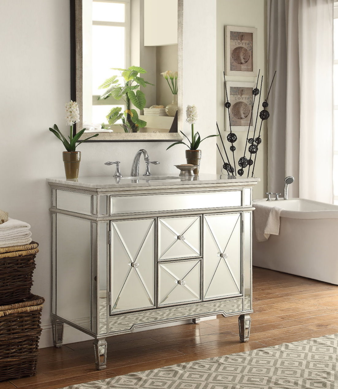 Adelina 40 Inch Mirrored Bathroom Vanity White Marble Top