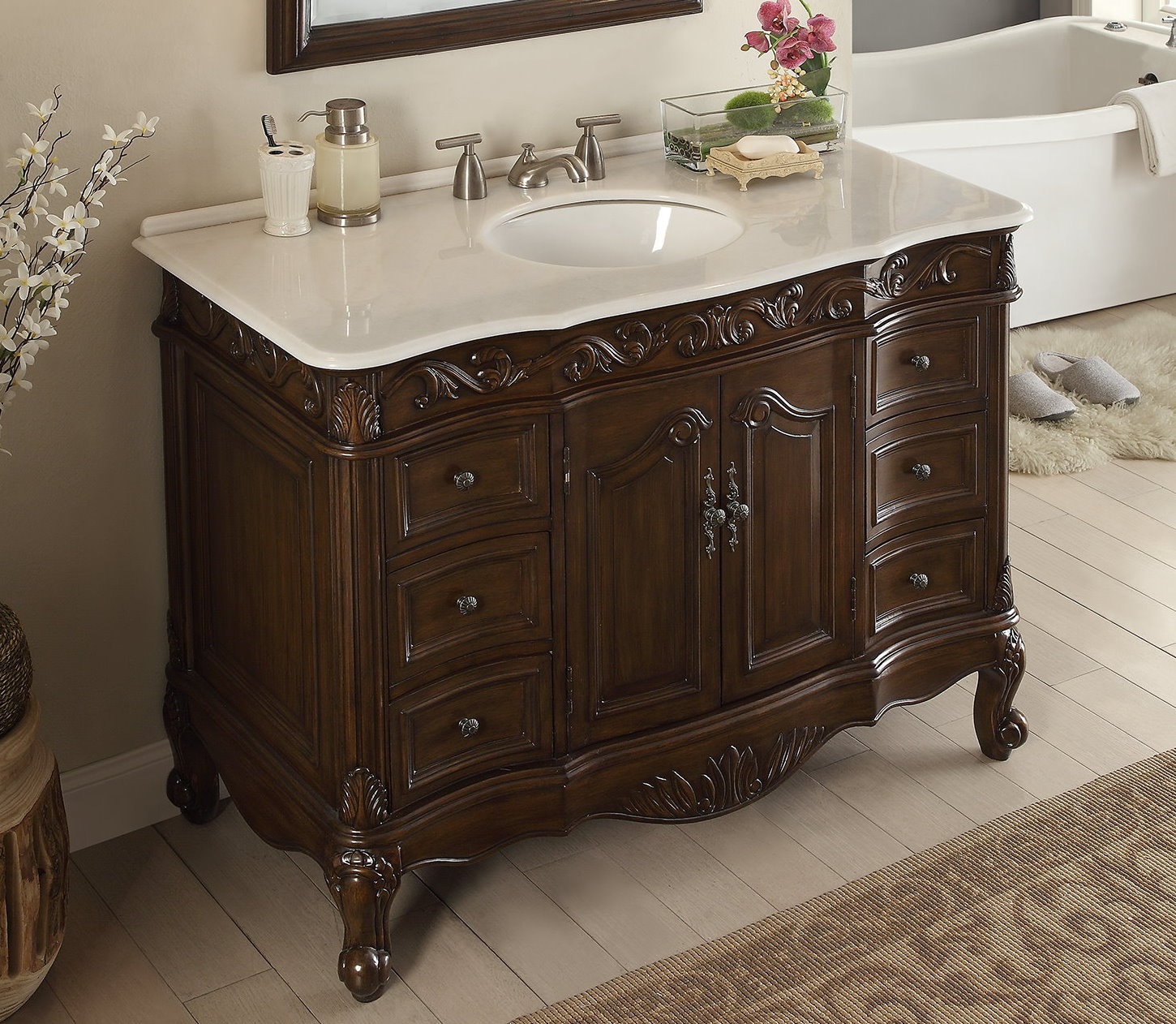 Adelina 42 Inch Antique Bathroom Vanity Fully Assembled