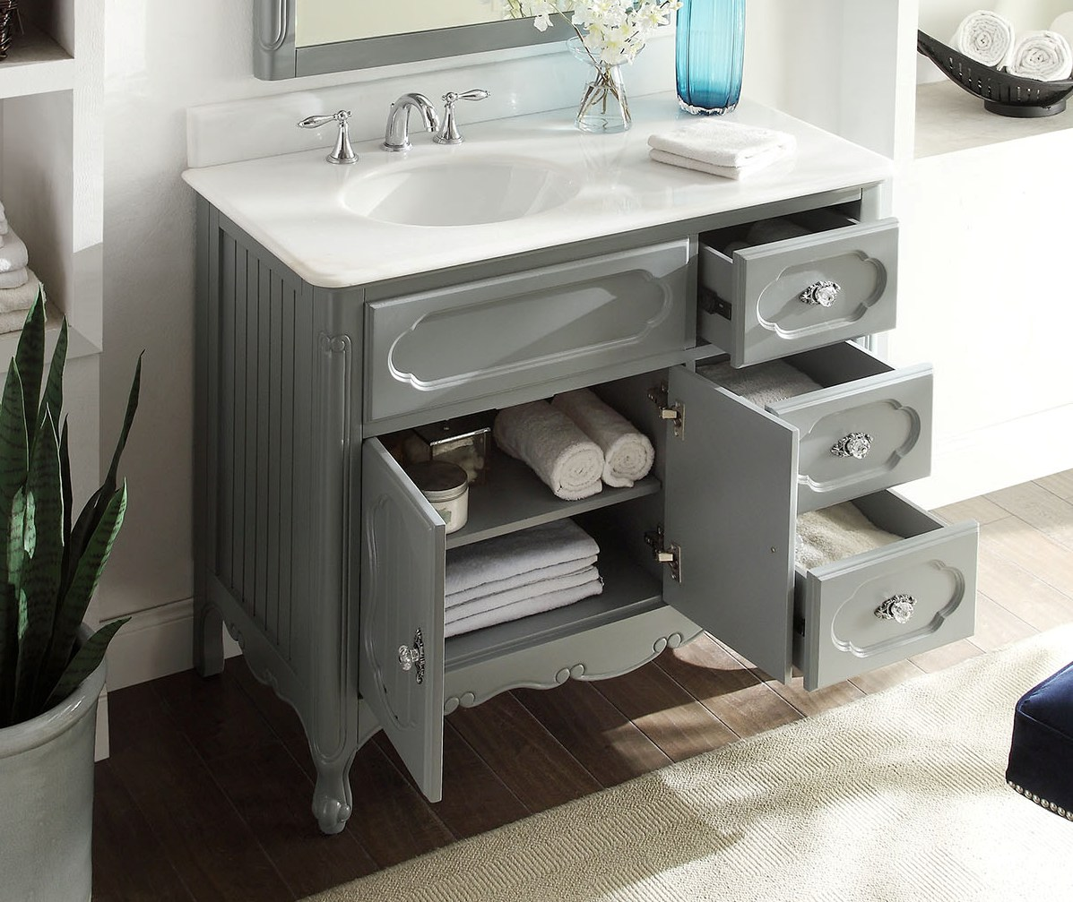 ... Adelina 42 Inch Antique Cottage Bath Vanity Grey Finish White Marble  Countertop