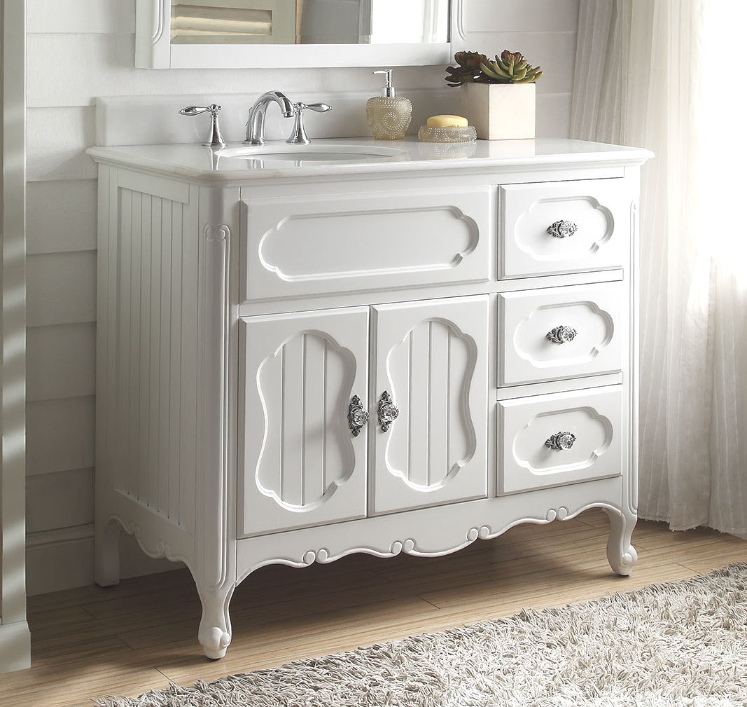 Adelina 42 Inch Antique Cottage Bathroom Vanity White Finish White Marble  Countertop