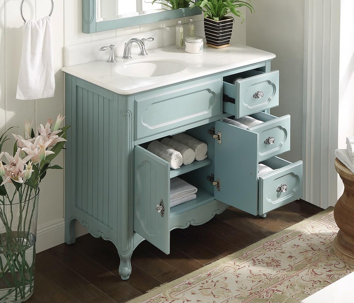 ... Adelina 42 inch Antique Cottage Bath Vanity Light Blue Finish White  Marble Top ... - Adelina 42 Inch Antique Cottage Bathroom Vanity Light Blue Finish