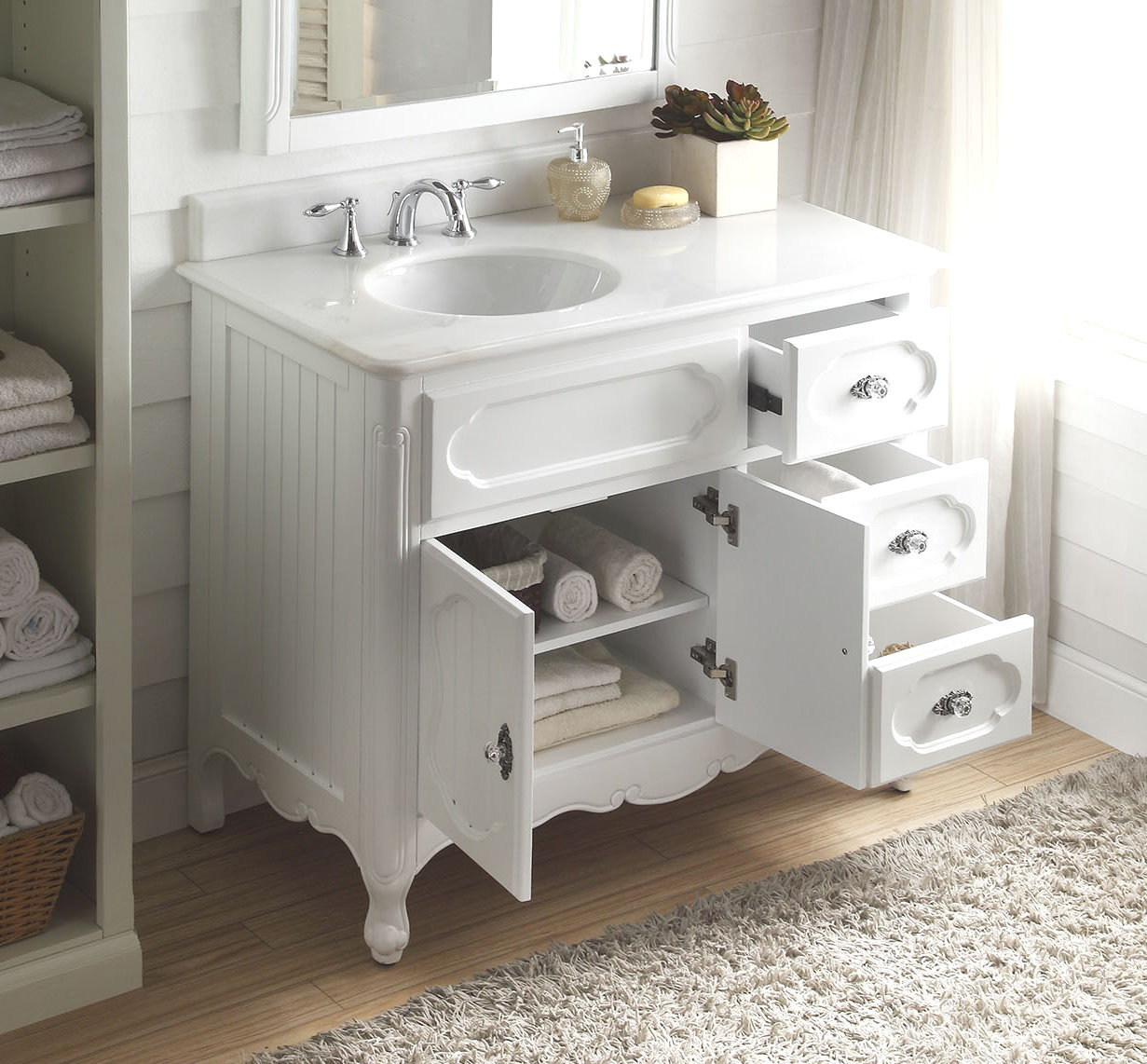 ... Adelina 42 Inch Antique Cottage Bath Vanity White Finish White Marble  Countertop