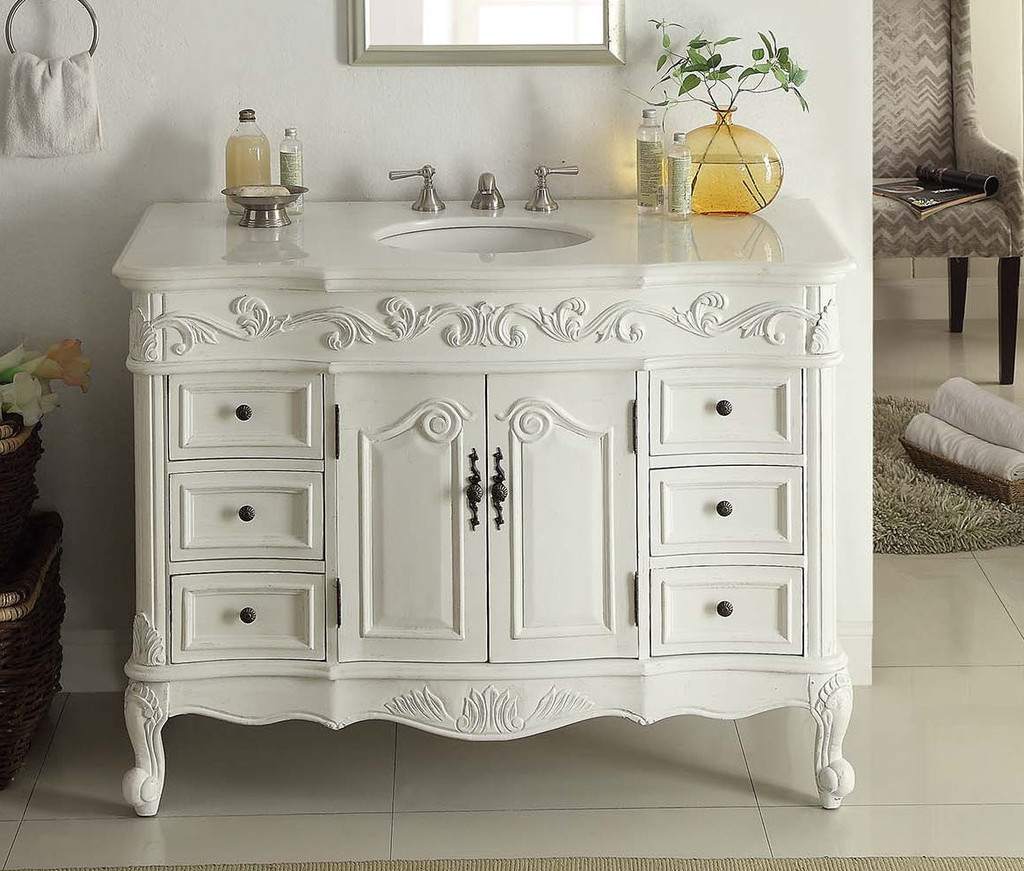Adelina 42 inch Traditional Style Antique White White Bathroom Vanity - 42 Inch Traditional Style Antique White White Bathroom Vanity