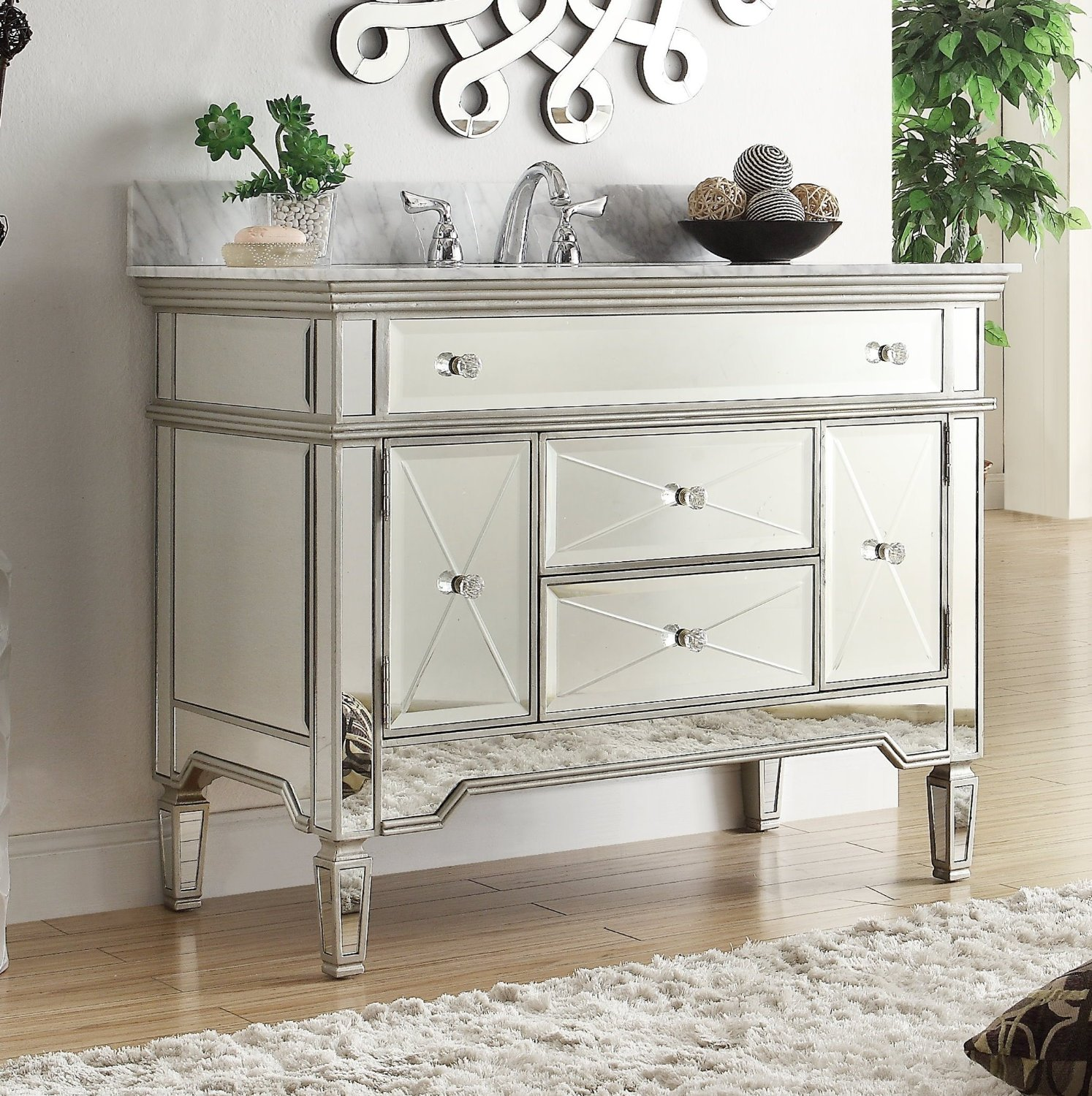 Wonderful Adelina 44 Inch Mirrored Bathroom Vanity Carrara Marble Top ...