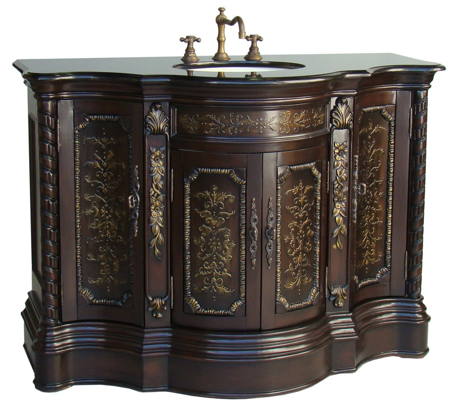 Asian bathroom vanity cabinets - Adelina 47 Inch Vintage Bathroom Vanity Light Coffee Finish