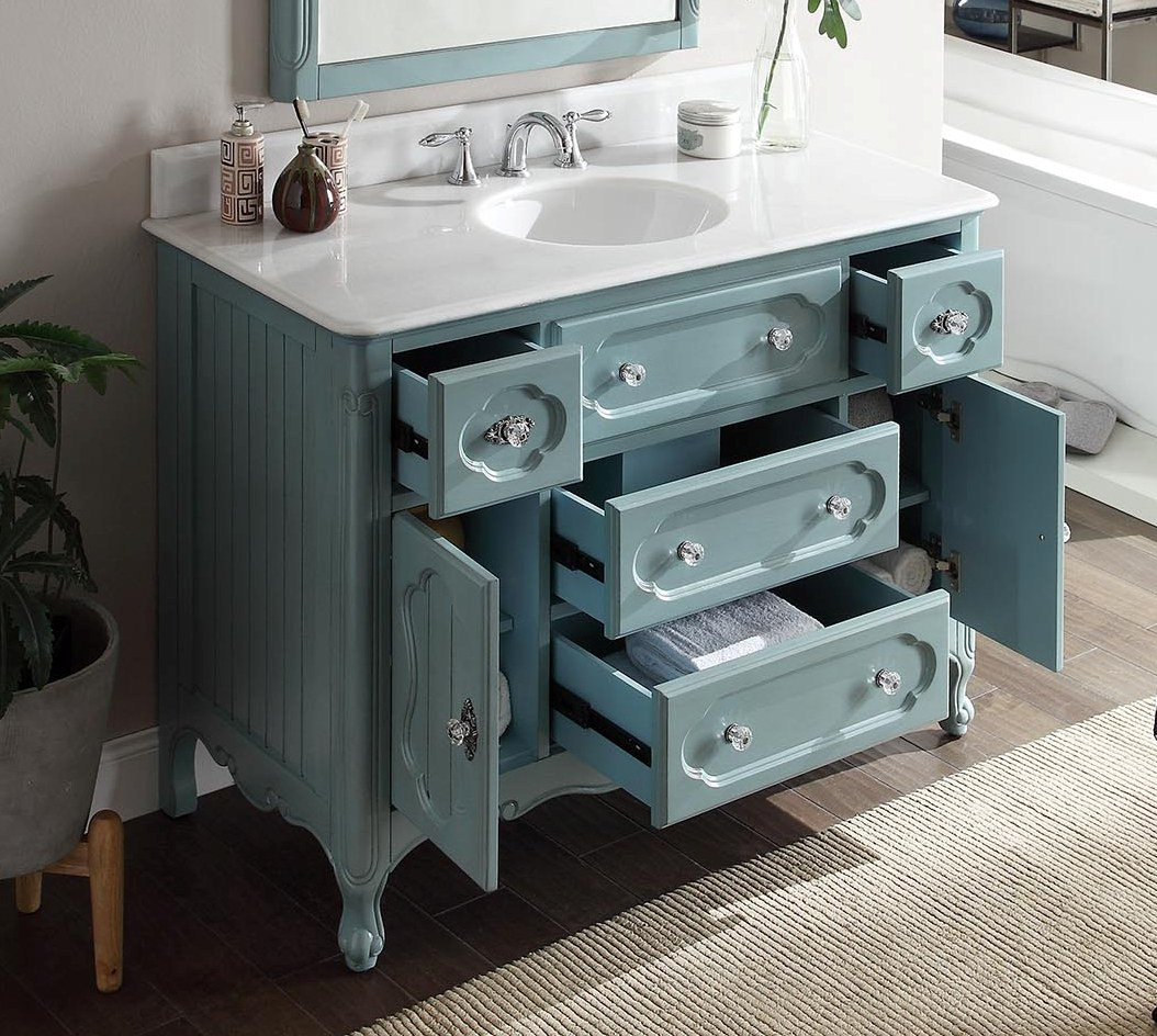 ... 48 inch Antique Cottage Bath Vanity Antique Blue Finish White Marble  Top ... - Adelina 48 Inch Antique Cottage Bathroom Vanity Antique Blue