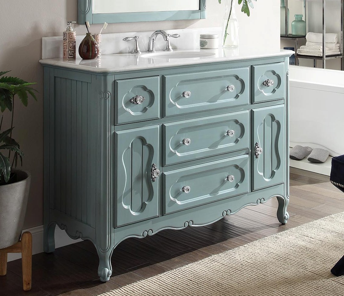 Adelina 48 inch Antique Cottage Bathroom Vanity Antique Blue Finish White  Marble Top - Adelina 48 Inch Antique Cottage Bathroom Vanity Antique Blue Finish
