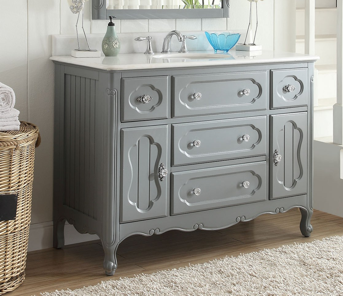 48 inch adelina antique cottage bathroom vanity grey finish white marble top - Antique Bathroom Vanity