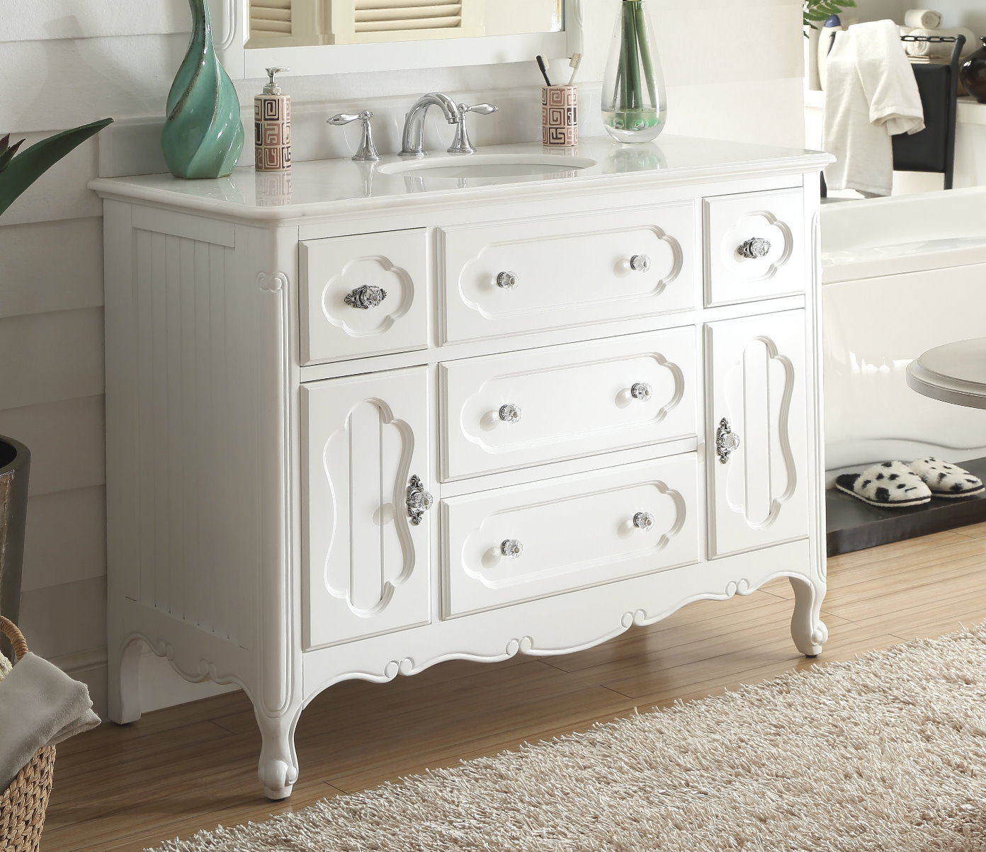 Adelina 48 Inch Antique Cottage Bathroom Vanity White Finish White Marble  Top